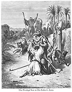 The Prodigal Son in the Arms of His Father [Luke 15:20-21] From the book 'Bible Gallery' Illustrated by Gustave Dore with Memoir of Dore and Descriptive Letter-press by Talbot W. Chambers D.D. Published by Cassell & Company Limited in London and simultaneously by Mame in Tours, France in 1866