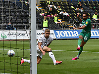 Football - 2019 / 2020 Championship - Swansea City vs Sheffield Wednesday<br /> <br /> Jacob Murphy of Sheffield Wednesday shoots at goal<br /> in a match played with no crowd due to Covid 19 coronavirus emergency regulations, at the almost empty Liberty Stadium.<br /> <br /> COLORSPORT/WINSTON BYNORTH