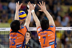 Vid Jakopin and Matevz Kamnik of ACH at  match for 3rd place of CEV Indesit Champions League FINAL FOUR tournament between PGE Skra Belchatow, POL and ACH Volley Bled, SLO on May 2, 2010, at Arena Atlas, Lodz, Poland.  (Photo by Vid Ponikvar / Sportida)