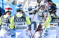 17.02.2021, Cortina, ITA, FIS Weltmeisterschaften Ski Alpin, Teambewerb, im Bild Team Deutschland // Team Germany during the Parallel Team Event of FIS Alpine Ski World Championships 2021 in Cortina, Italy on 2021/02/17. EXPA Pictures © 2021, PhotoCredit: EXPA/ Erich Spiess