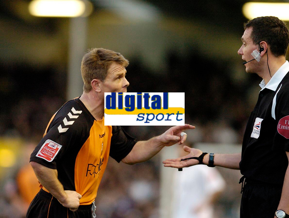 Photo: Leigh Quinnell.<br /> Milton Keynes Dons v Barnet. Coca Cola League 2. 20/01/2007. Barnets Andy Hessenthaler points out a few problems to referee Andre Marriner.
