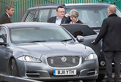 © Licensed to London News Pictures. 15/03/2018. Salisbury, UK. British Prime Minister THERESA MAY leaves Salisbury District Hospital, Wiltshire where Former Russian spy Sergei Skripal and his daughter Yulia are being treated after being poisoned with nerve agent. The couple where found unconscious on bench in Salisbury shopping centre. A policeman who went to their aid is currently recovering in hospital. Photo credit: Peter Macdiarmid/LNP