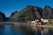 Rorbuer (traditional fishermen's cottages) at Olenilsoy at the mouth of the Reinefjord, Lofoten Islands, Arctic Norway