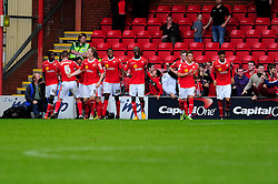 Crewe celebrates their goal - Photo mandatory by-line: Dougie Allward/JMP - Tel: Mobile: 07966 386802 19/10/2013 - SPORT - FOOTBALL - Alexandra Stadium - Crewe - Crewe V Bristol City - Sky Bet League One