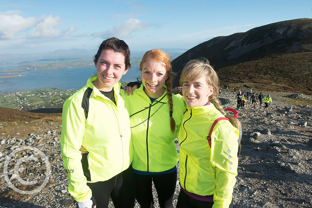 08/11/2014 repro free  Emma Dunne Portlaoise, , Emma Kerr, Armagh and Geraldine Carr Galway on Croagh Patrick  in the Sea 2 Summit adventure race in Westport Co. Mayo. Photo:Andrew Downes