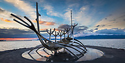 Sun Voyager is a sculpture by Jón Gunnar Árnason, located next to the Sæbraut road in Reykjavík, Iceland. Sun Voyager is a dreamboat, an ode to the sun. Intrinsically, it contains within itself the promise of undiscovered territory, a dream of hope, progress and freedom.