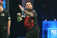Jonny Clayton misses a dart at a double during the PDC Unibet Premier League darts at Marshall Arena, Milton Keynes, United Kingdom on 24 May 2021.