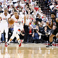 25 April 2016: Portland Trail Blazers guard C.J. McCollum (3) is seen on the fast break during the Portland Trail Blazers 98-84 victory over the Los Angeles Clippers, during Game Four of the Western Conference Quarterfinals of the NBA Playoffs at the Moda Center, Portland, Oregon, USA.