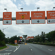 The road to the Orlando International Airport remains empty due to the Coronavirus (Covid-19) outbreak on Friday, April 17, 2020 in Orlando, Florida. (Alex Menendez via AP)