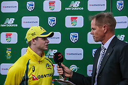 Steve Smith of Australia and Shaun Pollock during the 2nd ODI match between South Africa and Australia held at The Wanderers Stadium in Johannesburg, Gauteng, South Africa on the 2nd October  2016<br /> <br /> Photo by Dominic Barnardt/ RealTime Images