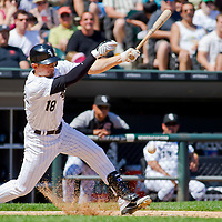 Chicago, IL - June 05, 2011:  Chicago White Sox, Brent Lillibridge (18), bats against the visiting Detroit Tigers at U.S. Cellular Field on June 5, 2011 in Chicago, IL.