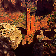 Spider Rock towers over Canyon de Chelly National Monument on the Navajo Reservation in Arizona. .