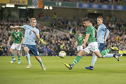 November 15, 2018 - Dublin, Ireland - Enda Stevens of Ireland in action during the International Friendly match between Republic of Ireland and Northern Ireland at Aviva Stadium in Dublin, Ireland on November 15, 2018  (Credit Image: © Andrew Surma/NurPhoto via ZUMA Press)