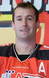 Tomaz Razingar, member of HK Acroni Jesenice ice-hockey team for season 2008/2009 at official photo shooting in Arena Podmezaklja, Jesenice, on September 24, 2008. (Photo by Vid Ponikvar / Sportal Images)