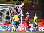 Crawley Town goalkeeper Freddie Woodman gathers a cross during the Sky Bet League 2 match between Crawley Town and Accrington Stanley at the Checkatrade.com Stadium, Crawley, England on 26 September 2015. Photo by Bennett Dean.