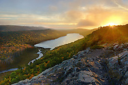 An autumn sunset over Porcupine Mountains Wilderness State Park<br />