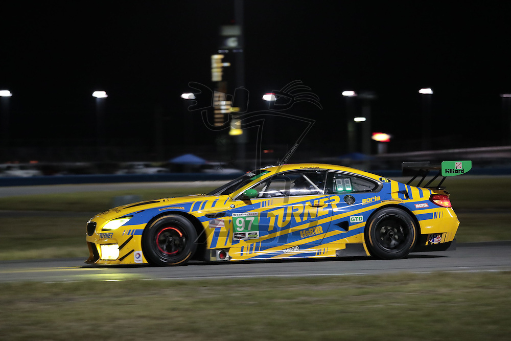 January 07, 2017 - Daytona Beach, Florida, USA:  The Turner Motorsport IHG Rewards Club BMW M6 GT3 races through the turns at the Roar Before The Rolex 24 at Daytona International Speedway in Daytona Beach, Florida.