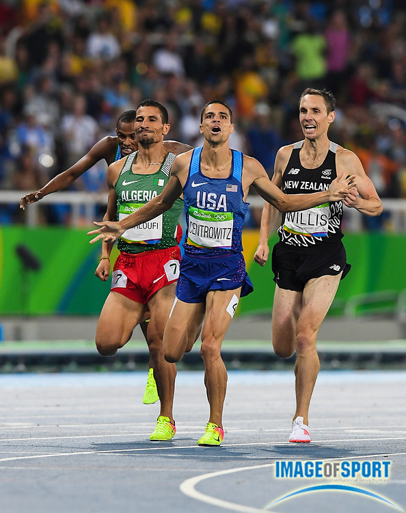 Aug 20, 2016; Rio de Janeiro, Brazil; Matthew Centrowitz (USA) celebrates after defeating Taoufik Makhloufi (ALG) and Nick Willis (NZL) to win the 1,500m in 3:50.00 during the 2016 Rio Olympics at Estadio Olimpico Joao Havelange. Photo by Roger Sedres
