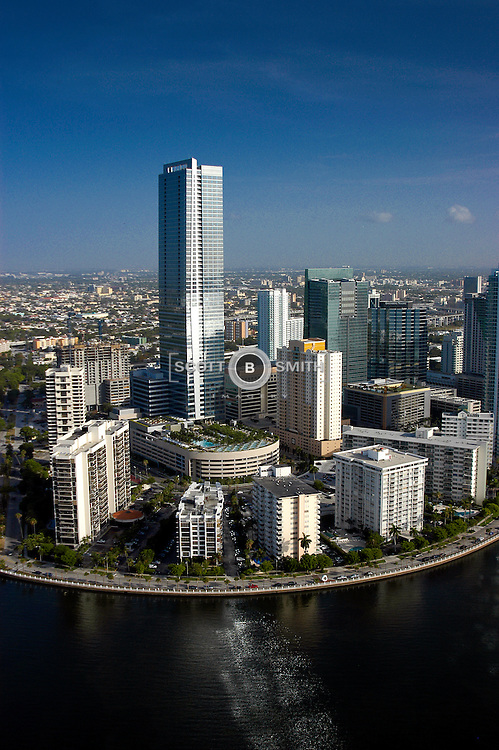 Aerial view of Four Seasons Hotel and office building in Miami Florida.