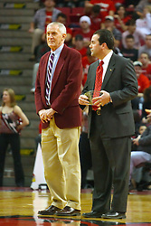 18 January 2009: Missouri State University Director of Athletics Bill Rowe is presented with a memento by Illinois State University Athletic Director Sheahon Zenger.  Rowe has been associated with Bears athletics for over 50 years. The Illinois State University Redbirds top the Missouri State Bears 68-56 on Doug Collins Court inside Redbird Arena on the campus of Illinois State University in Normal Illinois