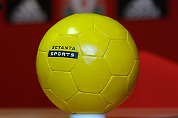 Liverpool, England - Thursday, September 27, 2007: A yellow Setanta Sports branded football at the launch of the Official Liverpool FC television channel on Setanta Sports. (Photo by David Rawcliffe/Propaganda)..For more details regarding LFC TV please contact Jo Crump or Steven Hartley at LiverpoolFC.TV jo,crump@liverpoolfc.tv / steven.hartley@liverpoolfc.tv