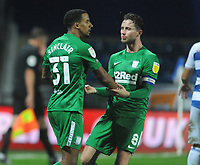 Football - 2020 / 2021 Sky Bet Championship - Queens Park Rangers vs Preston North End - Loftus Road<br /> <br /> Scott Sinclair of Preston celebrates scoring goal no 2 from the penalty spot with Alan Browne<br /> <br /> CREDIT : COLORSPORT / Andrew Cowie
