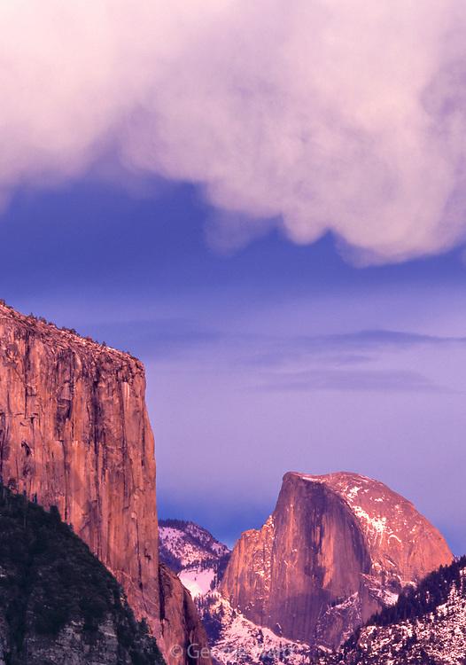 El Capitan, Half Domeand Mammatus Cloud Formation,Yosemite National Park, California