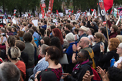 Parliament Square, Westminster, London, June 27th 2016. Thousands of Labour's Momentum members and their supporters gather in Parliament Square in a display of support for embattled Labour Leader Jeremy Corbyn as he suffers numerous calls for his resignation by party members, saying he has does not have the authority to lead the divided party, following his less than emphatic support for Remain in the EU referendum.