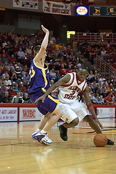 14 October 2006:  Nedu Onyeuku digs in against Brooks McKowen to get inside.....In a game that involved both coaches as much as the players, the Northern Iowa Panthers plucked the Illinois State University Redbirds in a Missouri Valley Conference game by a score of 67 - 52. Competition took place at Redbird Arena in Normal Illinois