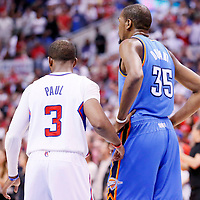 11 May 2014: Los Angeles Clippers guard Chris Paul (3) defends on Oklahoma City Thunder forward Kevin Durant (35) during the Los Angeles Clippers 101-99 victory over the Oklahoma City Thunder, during Game Four of the Western Conference Semifinals of the NBA Playoffs, at the Staples Center, Los Angeles, California, USA.