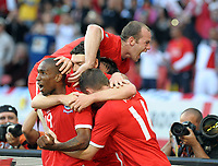 Nelson Mandela Bay Stadium Port Elizabeth World Cup 2010  Match 37 23/06/10<br /> Jermain Defoe (ENG) scores first goal and celebrates  with Wayne Rooney<br /> Photo Roger Parker Fotosports International