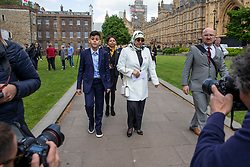 © Licensed to London News Pictures. 10/05/2018. London, UK. Fatima Boudchar (centre-right) and her son (centre-left) outside Parliament after Attorney General Jeremy Wright announced that a settlement had been reached over her 2004 rendition to Libya. Fatima Boudchar and her husband, Abdel Hakim Belhaj, were kidnapped in Thailand in 2004 and flown to Libya in a rendition operation, allegedly with the help of MI6. Photo credit: Rob Pinney/LNP