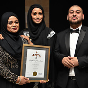 Eniyah Rana of Modest Street Hijabi Makeup Stylist and blogger and Certificate of Excellence to Carry Palace at the Asian Restaurant & Takeaway Awards | ARTA 2018 at InterContinental London - The O2, London, UK. 30 September 2018.
