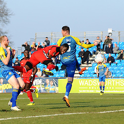TELFORD COPYRIGHT MIKE SHERIDAN 23/2/2019 - GOAL. Amari Morgan Smith of AFC Telford heads home to make it 1-0  during the FA Trophy quarter final fixture between Solihull Moors and AFC Telford United at the Automated Technology Group Stadium