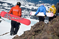 Snowboarders hiking at Kirkwood resort near Lake Tahoe, CA.<br />