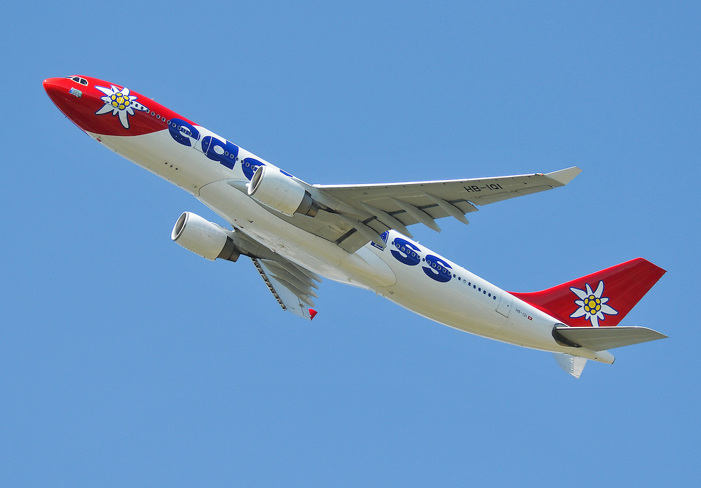 Edelweiss Airbus A330 on the climb out of Whitehorse International Airport, Yukon.