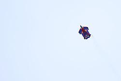 08.01.2015, Kulm, Bad Mitterndorf, AUT, FIS Ski Flug Weltcup, Einfliegen der Schanze, im Bild ein Wingsuit-Flieger des Red Bull Skydive-Teams // during the FIS Ski Flying World Cup at the Kulm, Bad Mitterndorf, Austria on on 2015/01/08. EXPA Pictures © 2015, EXPA/ Martin Huber