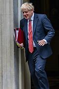 Boris Johnson, Britain's Prime Minister Leaves Downing Street in London, Wednesday, Sept. 2, 2020. Britain's parliament returned Tuesday after the summer break.(VXP Photo/ Vudi Xhymshiti)