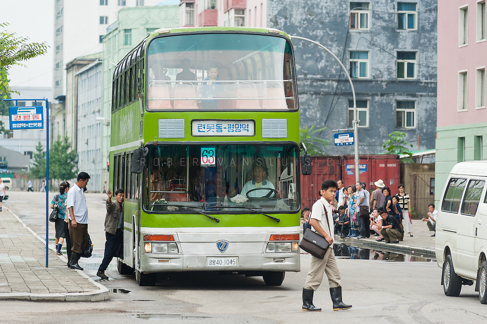 Double decker bus in the streets of Pyongyang, DPRK (North Korea)