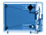 A Kodak box Brownie camera is shown in X-ray.
