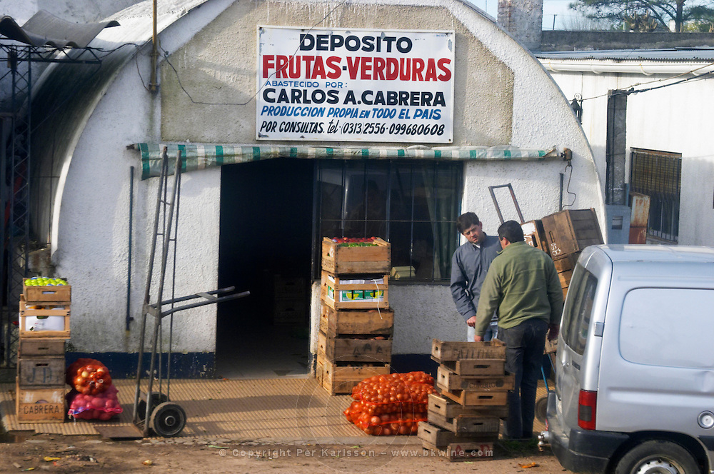 A road side fruit and vegetable shop in Progreso. Uruguay, South America