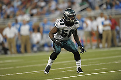 DETROIT - SEPTEMBER 19: Linebacker Ernie Sims #50 of the Philadelphia Eagles drops back during the game against the Detroit Lions on September 19, 2010 at Ford Field in Detroit, Michigan. (Photo by Drew Hallowell/Getty Images)  *** Local Caption *** Ernie Sims