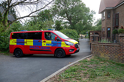 © Licensed to London News Pictures. 07/06/2020. London, UK. A police vehicle parked at a cordon at Fryent Country Park. The bodies of two women have been found in Fryent Country Park in Wembley. Metropolitan Police Service were called at 13:08 BST, Oficers found two unresponsive woman, they were pronounced dead at the scene. Photo credit: Peter Manning/LNP