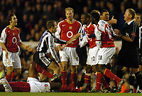 Picture: Henry Browne, Digitalsport<br /> Date: 23/01/2005.<br /> Arsenal v Newcastle United Barclays Premiership.<br /> The Arsenal players have a go at Lee Bowyer after a bad challenge.