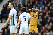 Moussa Sissoko of Tottenham Hotspur ® reacts in frustration after missing a chance to score. .Premier league match, West Bromwich Albion v Tottenham Hotspur at the Hawthorns stadium in West Bromwich, Midlands on Saturday 15th October 2016. pic by Andrew Orchard, Andrew Orchard sports photography.