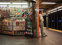 Newsstand at the 66th street Broadway subway station in New York City