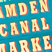 Sign for Camden Canal Market, London. Camden is known as London's centre of alternative culture.