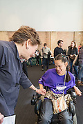 Congresswoman Jan Schakowsky connects with a Disability advocate.
