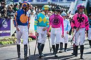 November 3, 2018: Breeders' Cup Horse Racing World Championships. Jockeys walk to the paddock.