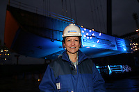 Royal Caribbean International 'Project Genesis' keel laying ceremony in Turku, Finland....The worlds largest cruise ship, currently known as Project Genesis ,  has it's first segment layed in dry Dock in Turku Finland today. The ship is due to be compleated in autumn 2009 and will be 40% bigger than the current world largest cruise ship also owned by Royal Caribbean International....Susan Hooper, Senior Vice President EMEA, infront of the first segment of Project Genesis to be laid in the dry dock in Turku, Finland.